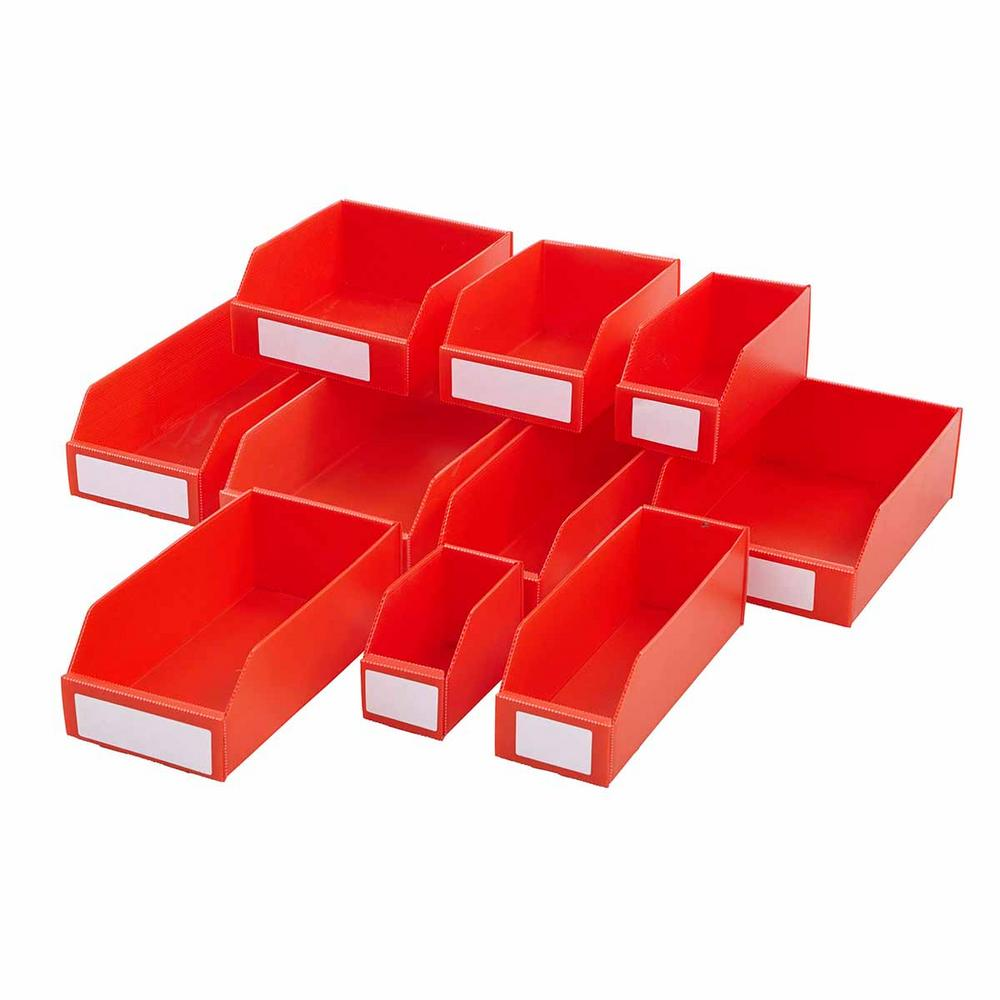 Flat Pack Corrugated Plastic Parts Bins Red