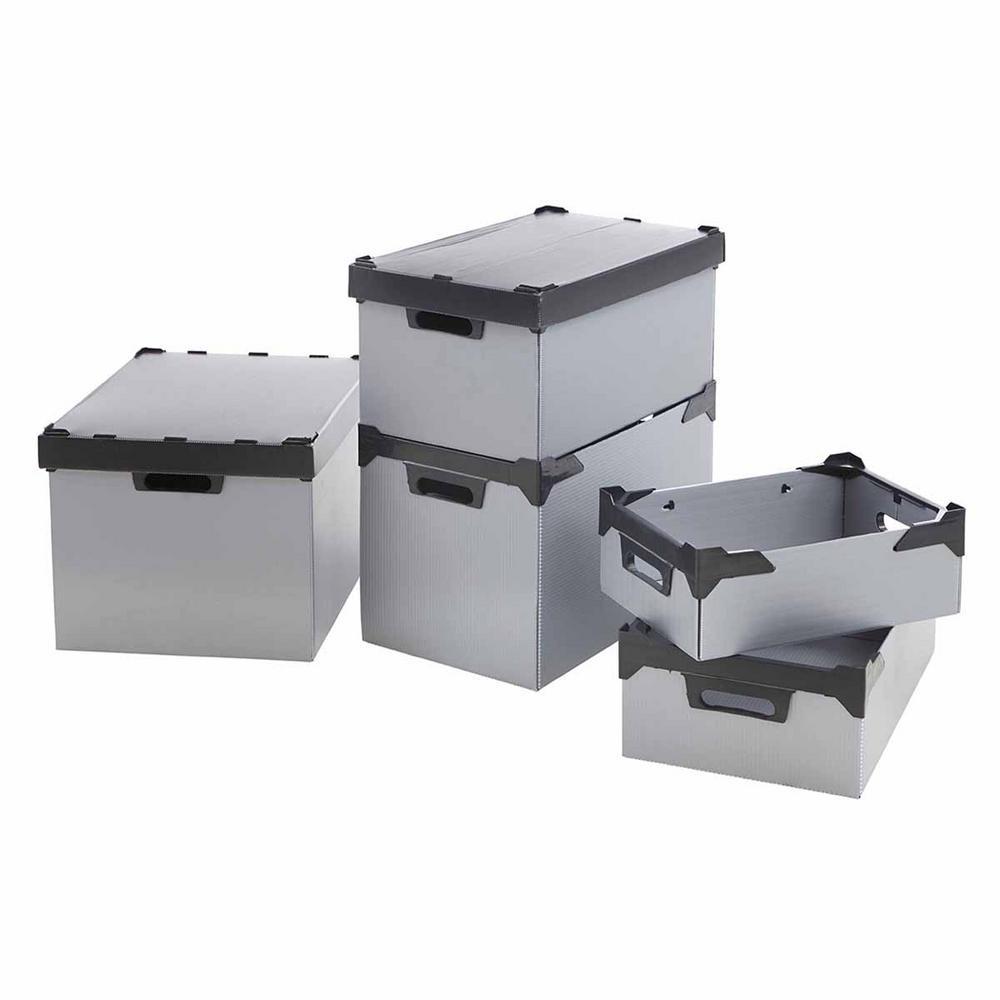K-Bins Flat Pack Polypropylene Stacking Boxes Grey