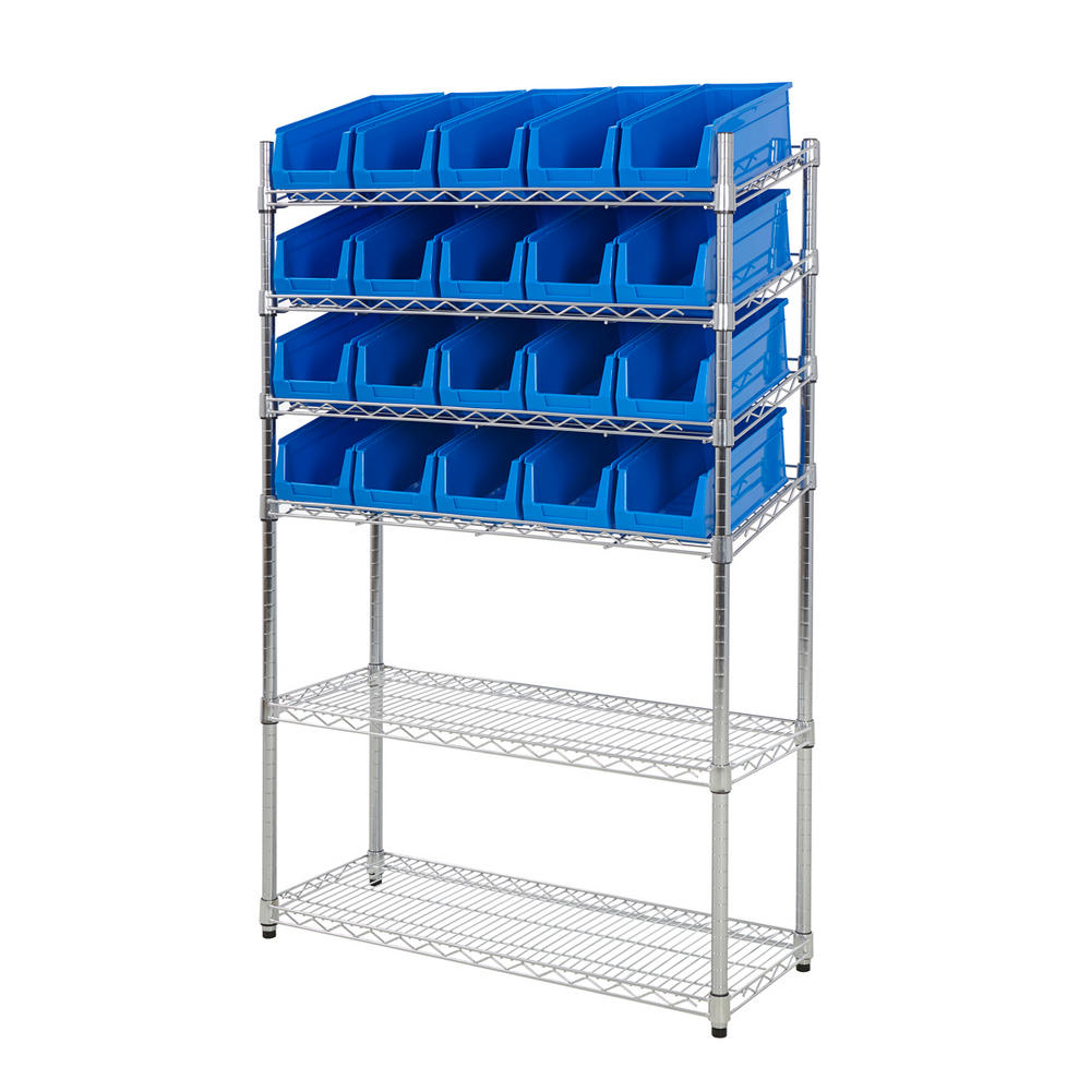 Mobile Chrome Slanted Shelving Bin Kits