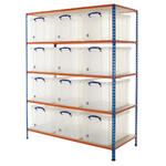 Shelving Bay With 12x 84 Litre Really Useful Boxes