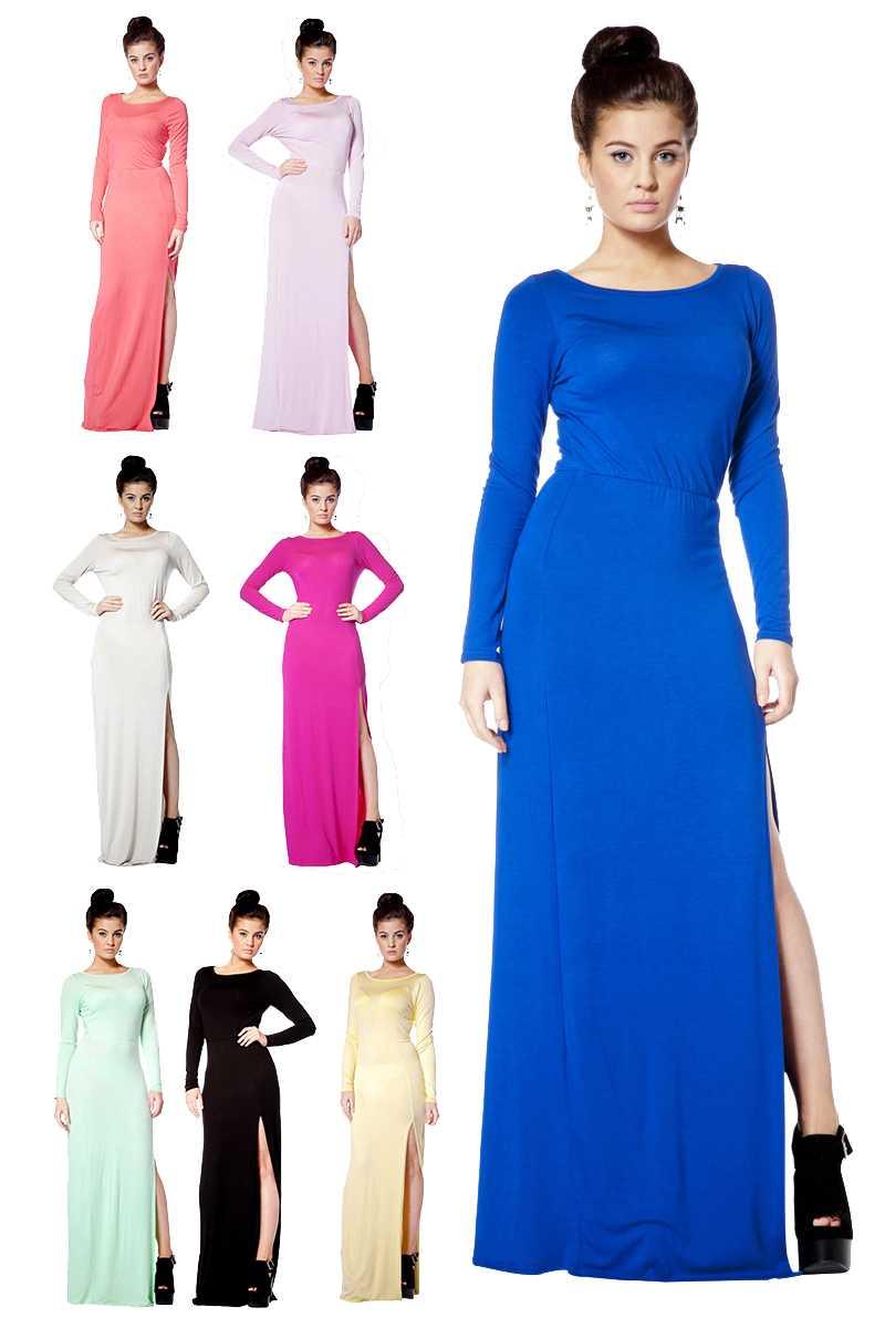 WD1 New Womens Jersey Ladies Long Sleeve Split Slit Long Maxi Dress Size 8 14