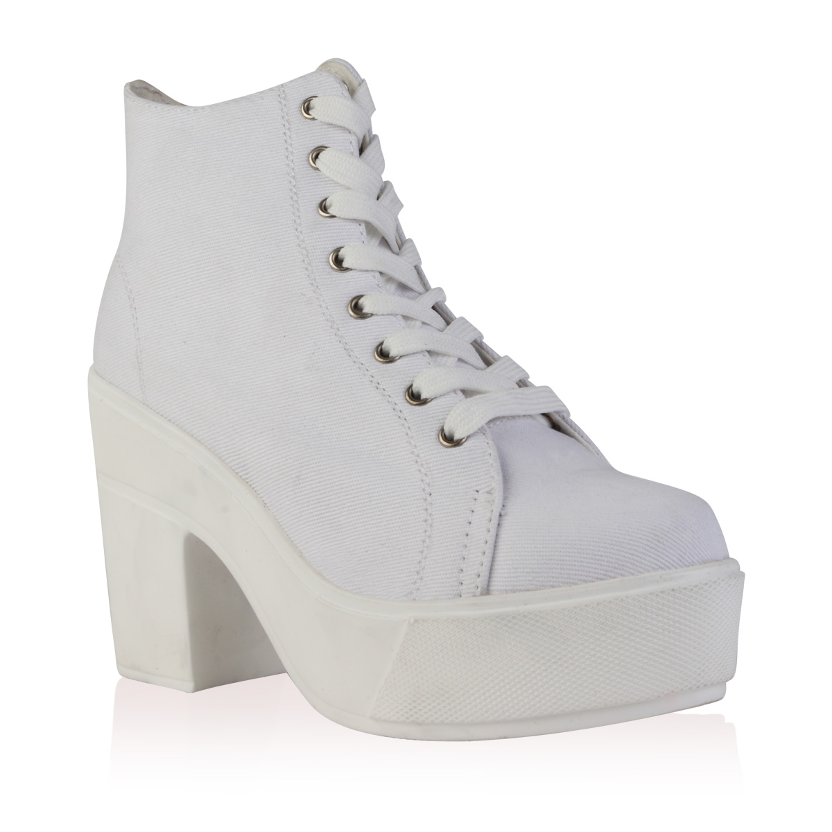 New Womens Lace Up Canvas In White Platform Block Heel Boots Shoes ...