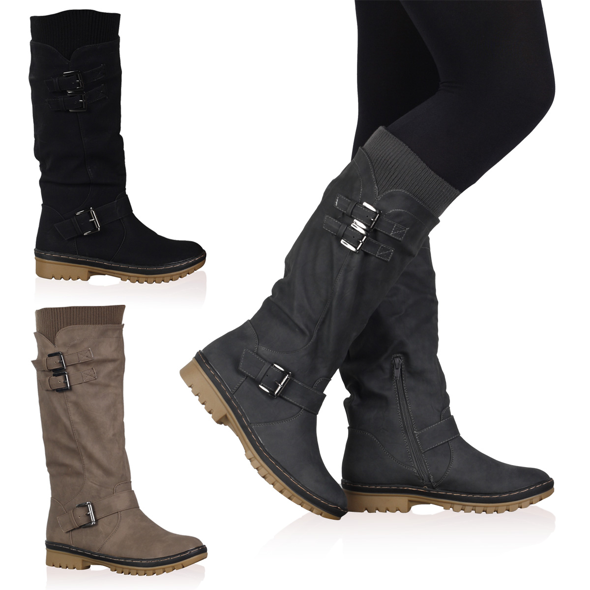 NEW WOMENS CALF LENGTH HIGH LADIES LINED GRIP SOLE WINTER BOOTS SHOES SIZE  3-8