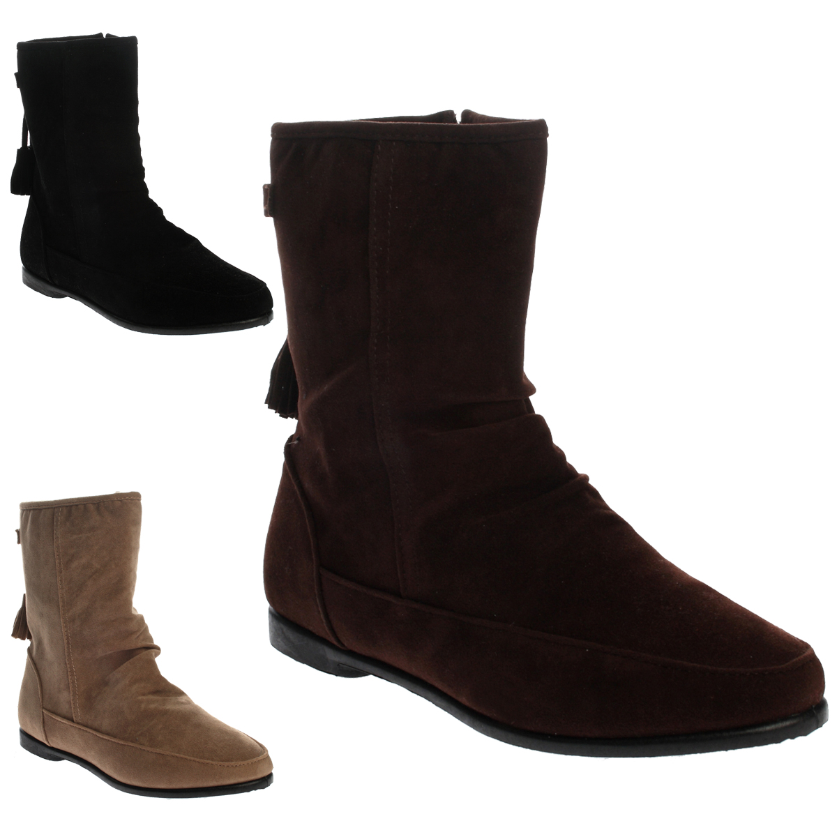 9g womens faux suede ladies flat tassel zip up pixie ankle boots