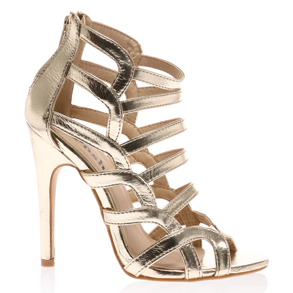 new womens zip up in gold strappy open toe high stiletto