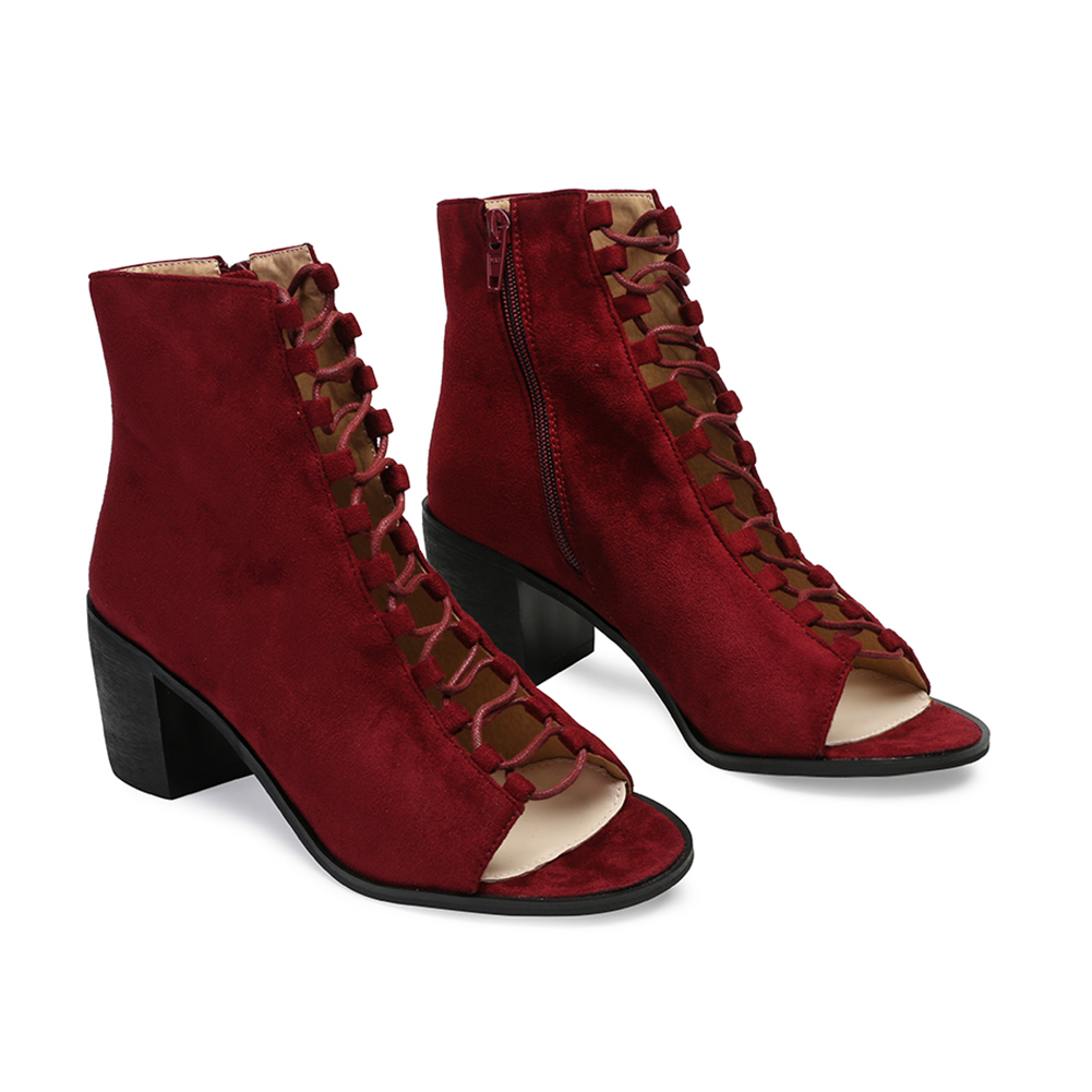 new womens zip lace up summer peep open toe ankle boots in red bordeaux uk 3 8 ebay. Black Bedroom Furniture Sets. Home Design Ideas