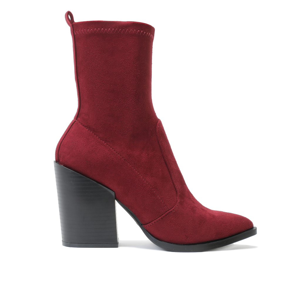 womens zip up western style block heel ankle boots in bordeaux faux suede uk 3 8 ebay. Black Bedroom Furniture Sets. Home Design Ideas