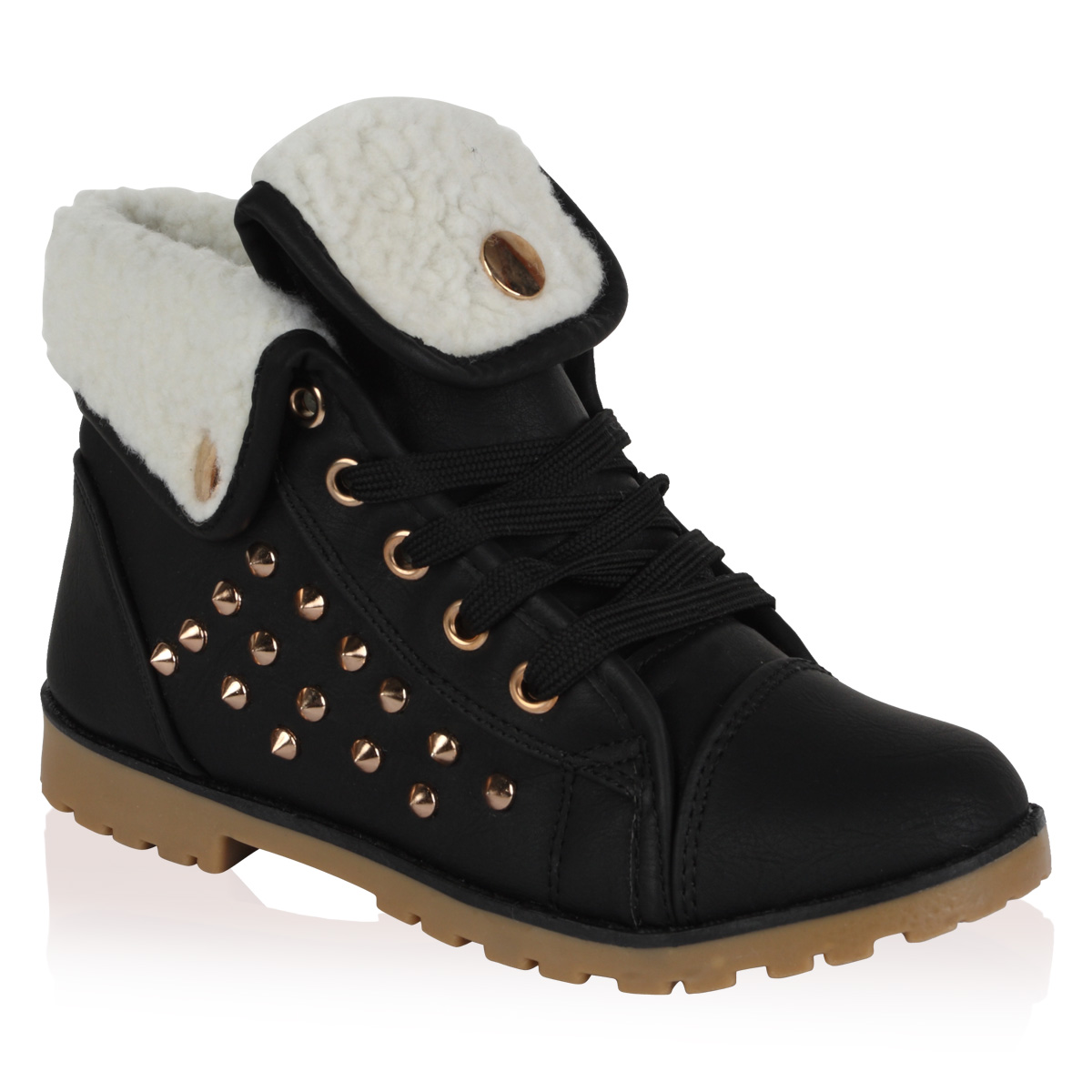 NEW GIRLS BLACK STUDDED KIDS FOLD OVER FLEECE HI TOP TRAINER BOOTS SIZE UK 28-35