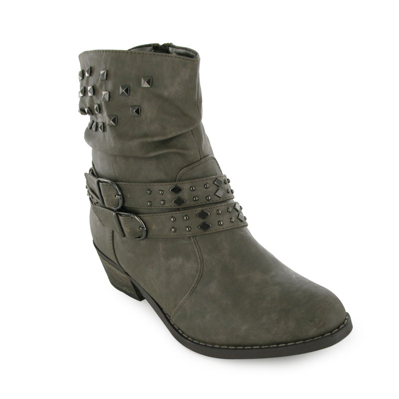 42z new charcoal low heel ankle boots size 3 8 ebay