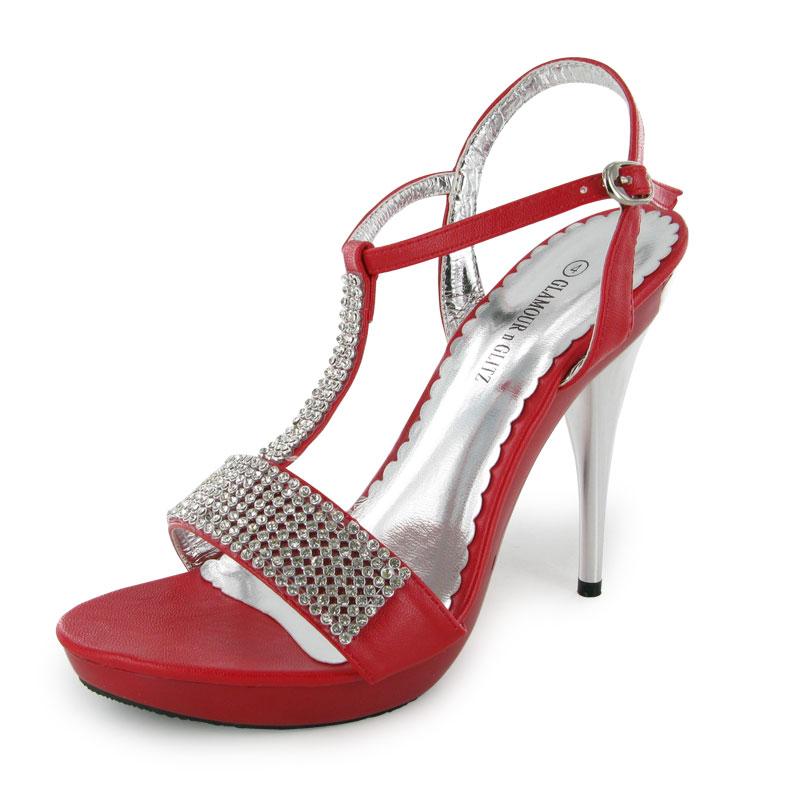 Nuevo Y En Caja Damas Rojo Diamante Nupcial Zapatos Tallas 3-8 UK