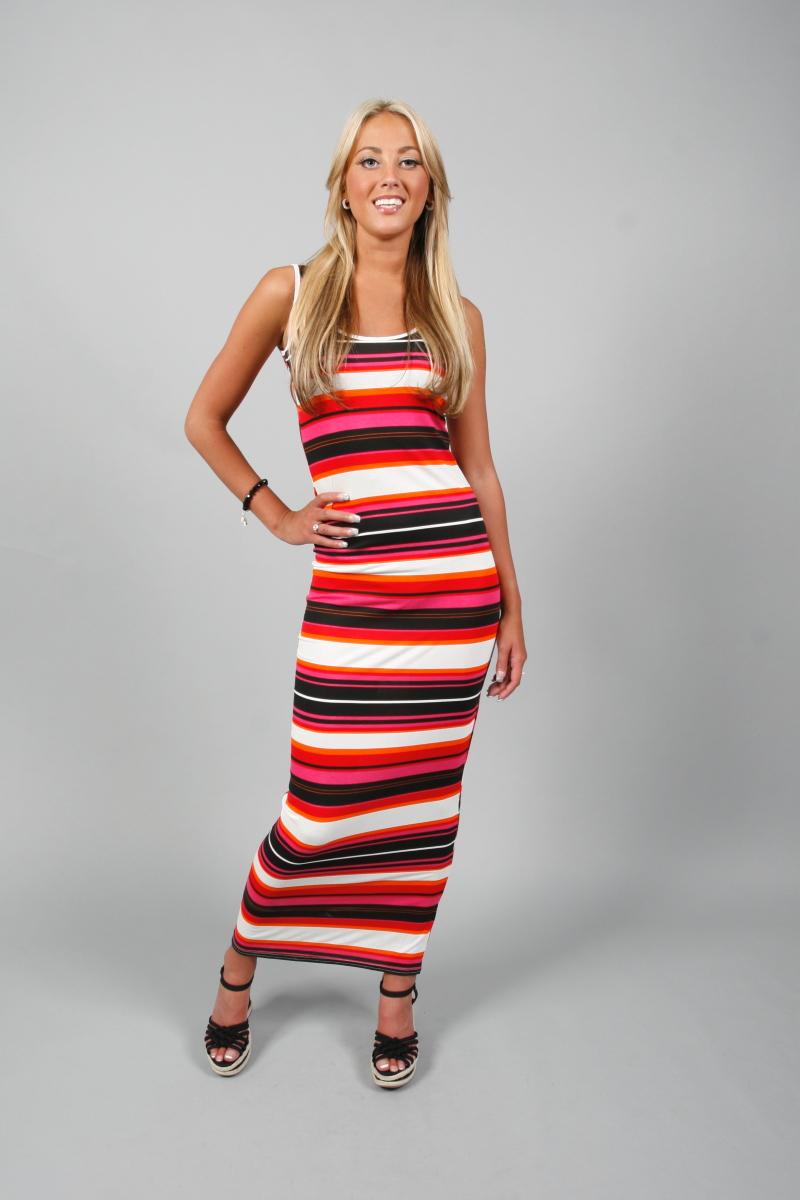 87S NEW LADIES SUMMER LONG JERSEY STRIPE MAXI DRESS UK