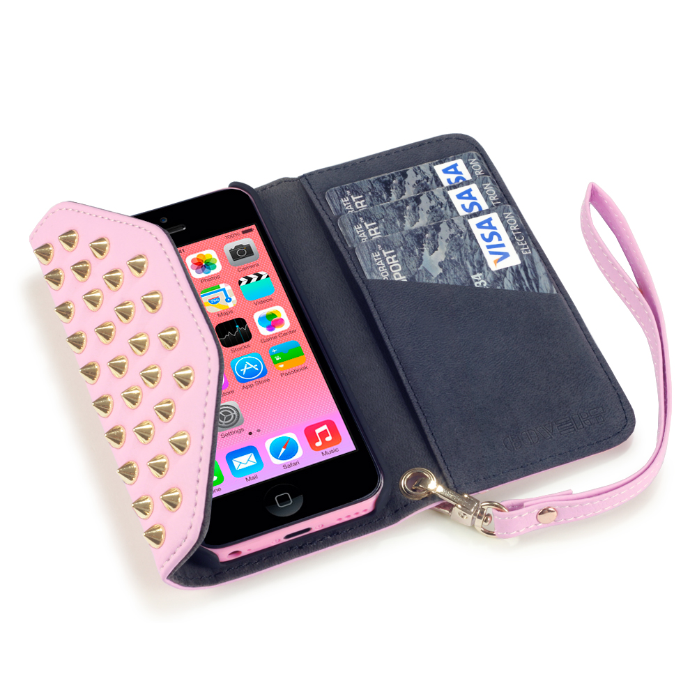 iphone 5c wallet cases covert pink studded rock chic purse wallet for iphone 2302