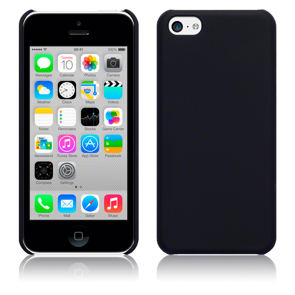 black iphone 5c for iphone 5c solid black rubberised back cover 10275