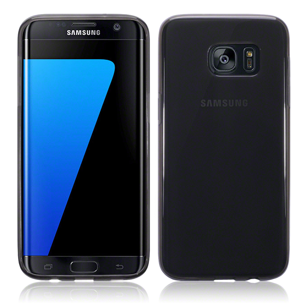 premium selection 48f4a 9141a Details about Slim Rubber Bumper Gel Case Cover for Samsung Galaxy S7 Edge  - Smoke Black