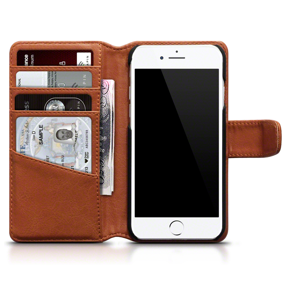 brand new a750c 91d83 Details about Cognac Genuine Leather Wallet Case for Apple iPhone 7/8