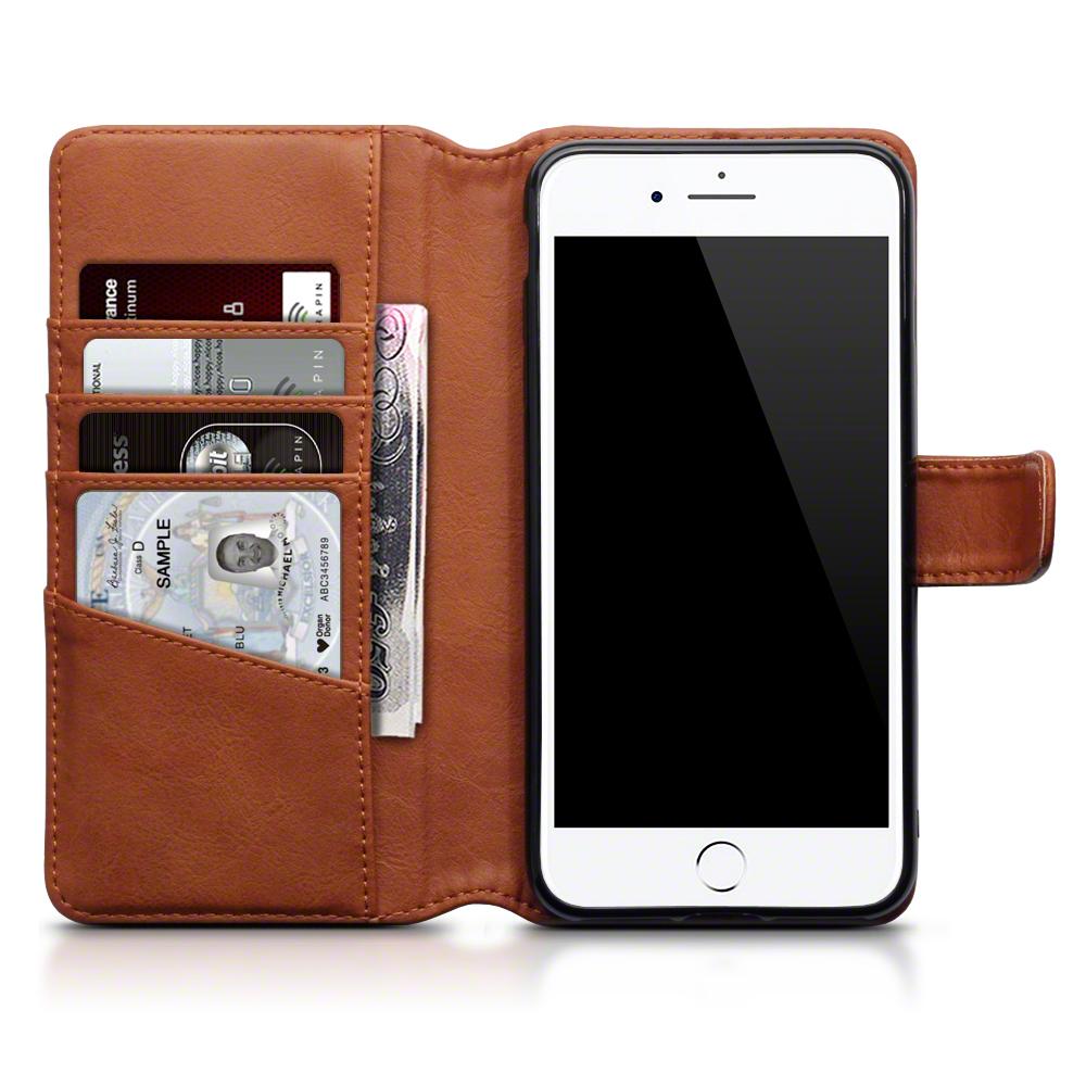 size 40 44bb0 3859e Details about Cognac Genuine Leather Wallet Case for Apple iPhone 7 Plus /  8 Plus