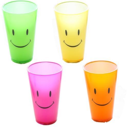 smiley gesicht neon farbig bunt tall kinder plastik trinkbecher trinken becher ebay. Black Bedroom Furniture Sets. Home Design Ideas