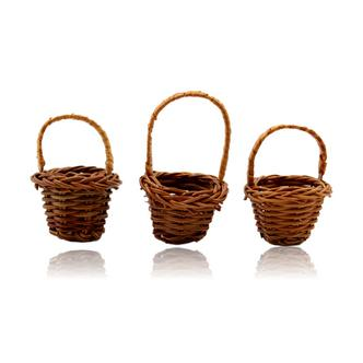3x Miniature Woven Wicker Basket Crafting Doll House Size H6cm