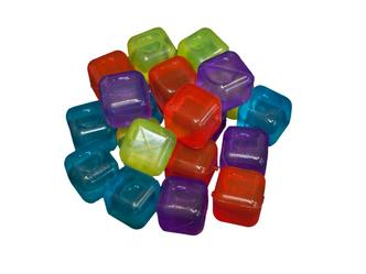 20x Fun Brightly Coloured Party Plastic Freezer Ice Cubes