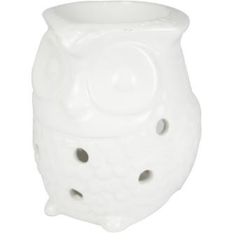 Owl Design Incense & Fragrance Oil Ceramic Burner in White
