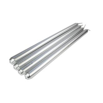 Set of 4 Traditional Silver Taper Candles 25cm. 6 Hour Burn Time (approx)