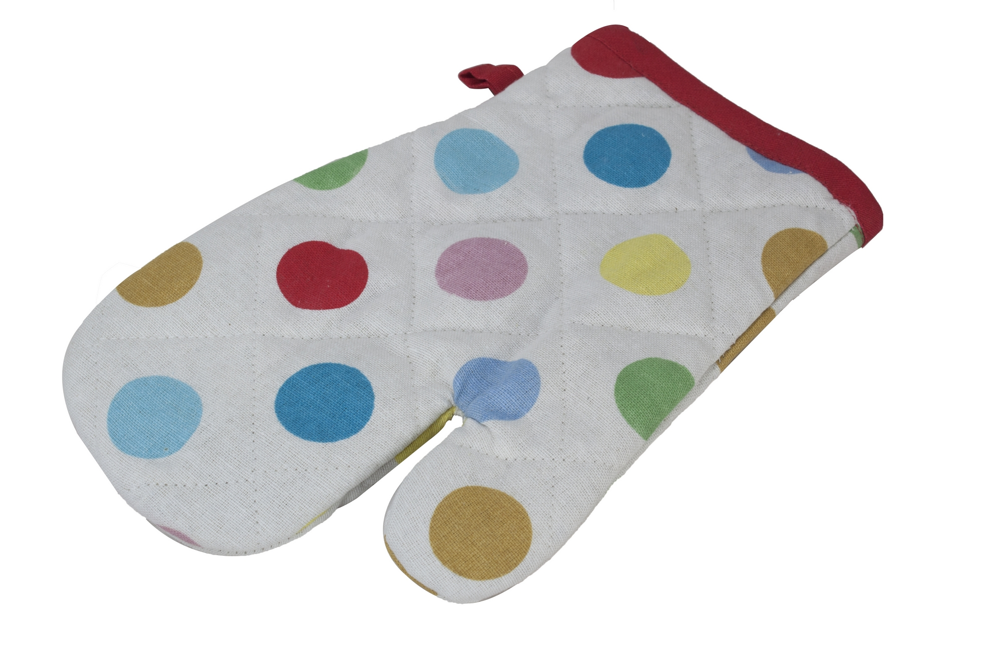 Spotty polka dot oven mitt