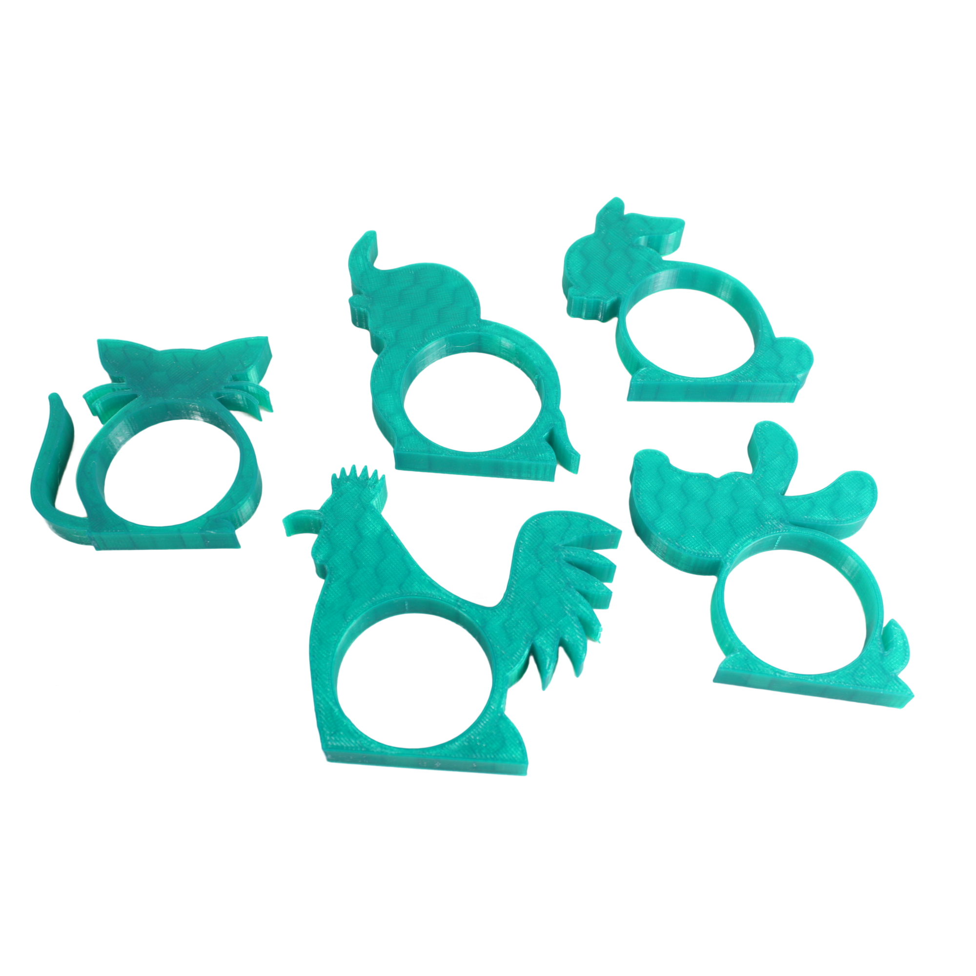 5x Childrens Animal Shaped Napkin Rings Holders - Dark Green