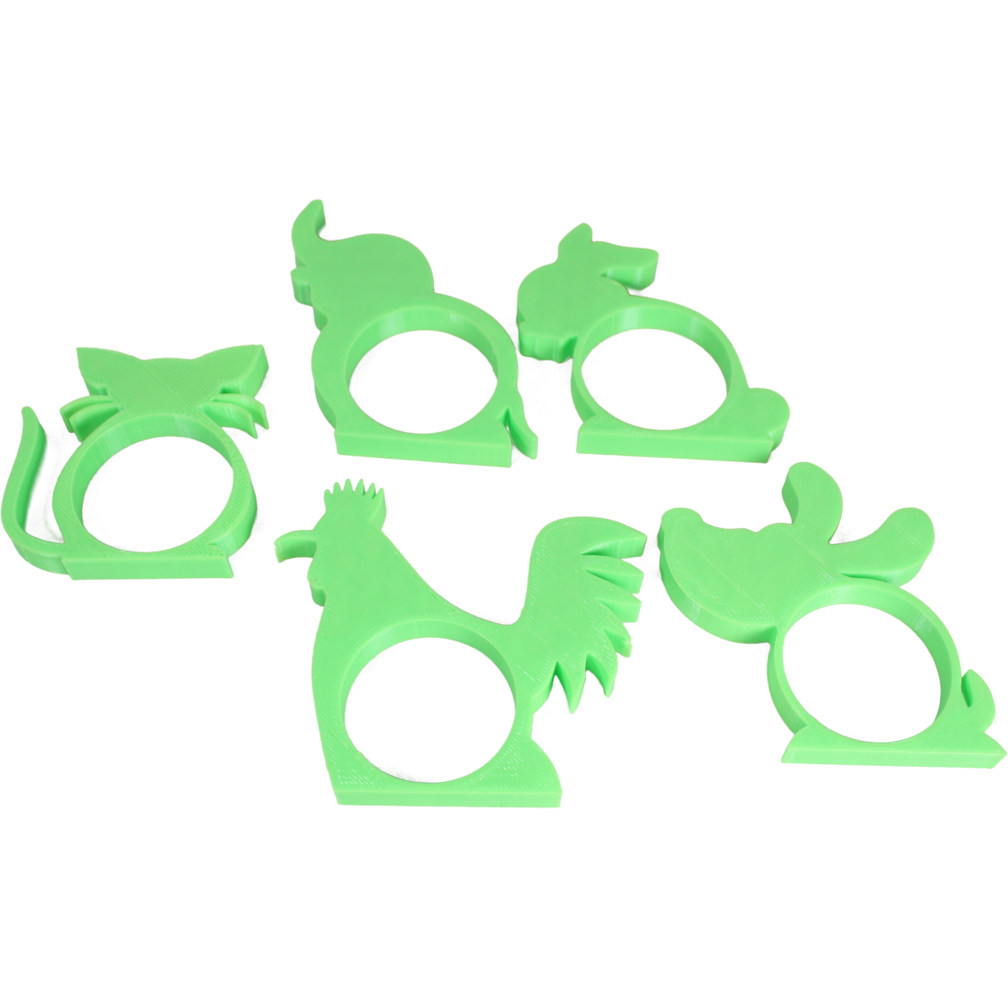 x5 Childrens Animal Shaped Napkin Rings / Holders - Light Green