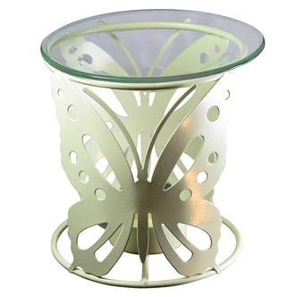 Cream Metal Butterfly Design Incense & Fragrance Oil Burner