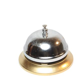 Gold Coloured Base Silver Table Bell Boy Service Bell