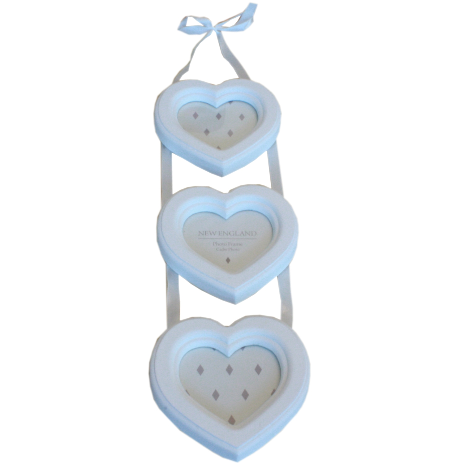 Wall Hanging Heart Shaped 3 Apperture Ladder Photo Frame in White ...