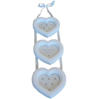 Wall Hanging Heart Shaped 3 Apperture Ladder Photo Frame in White