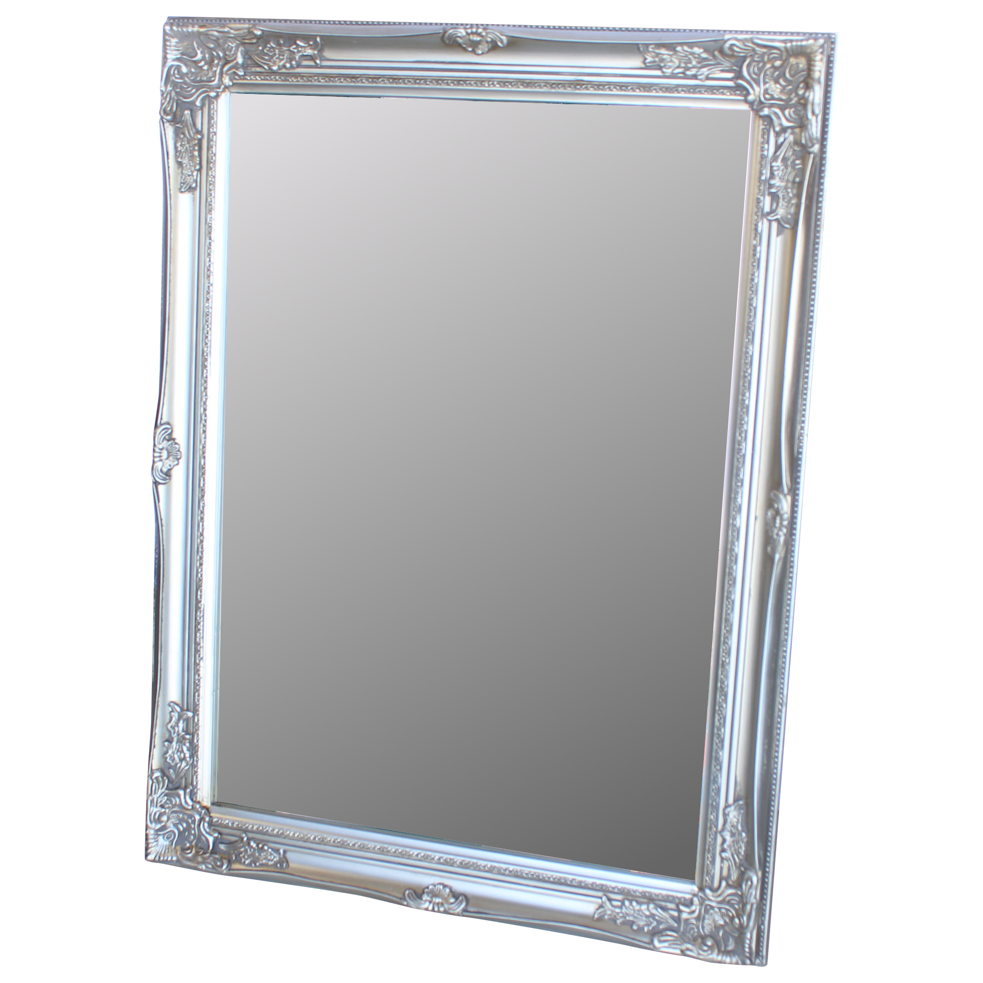 Large silver ornate shabby vintage chic wall mirror 62cm x for Large silver wall mirror