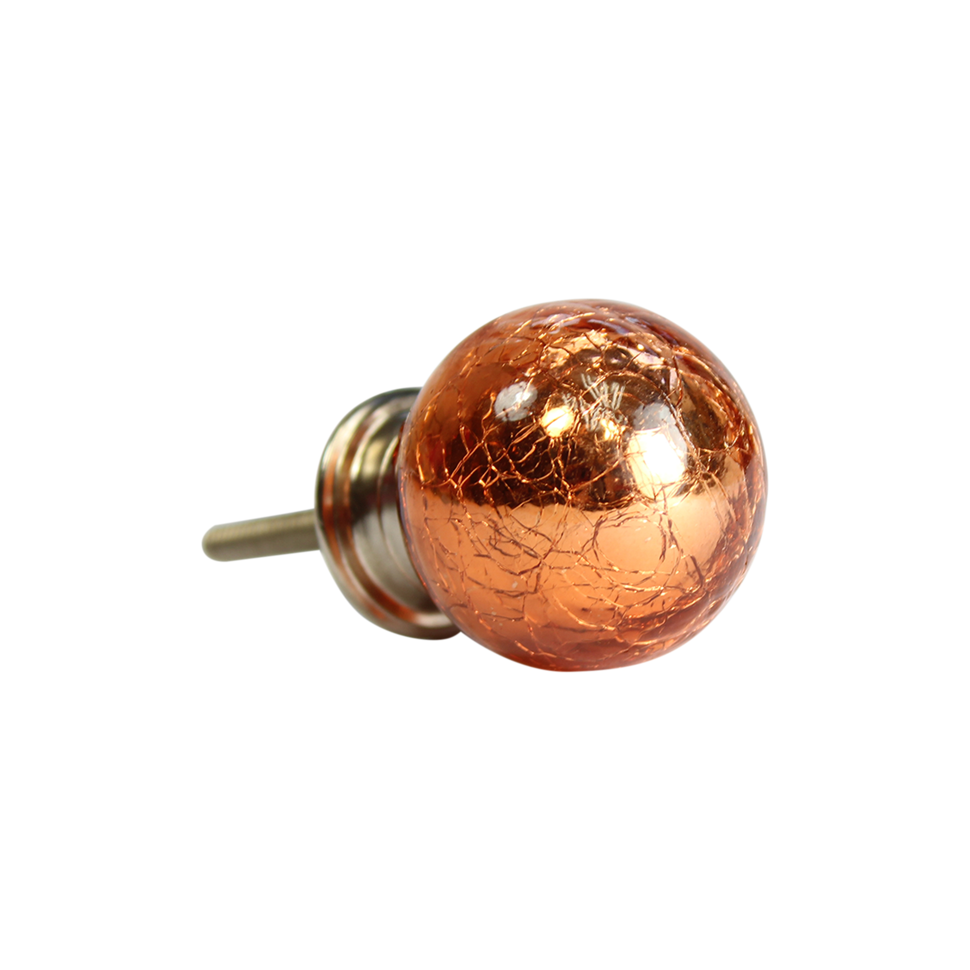 Metallic Crackle Glass Drawer Knobs Orange Ball
