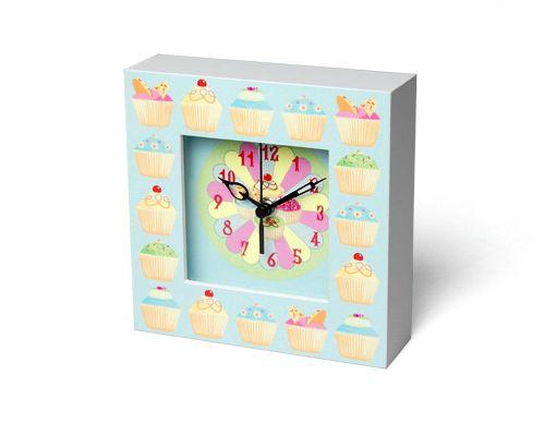 Fairy Cakes Design Square Wooden Clock