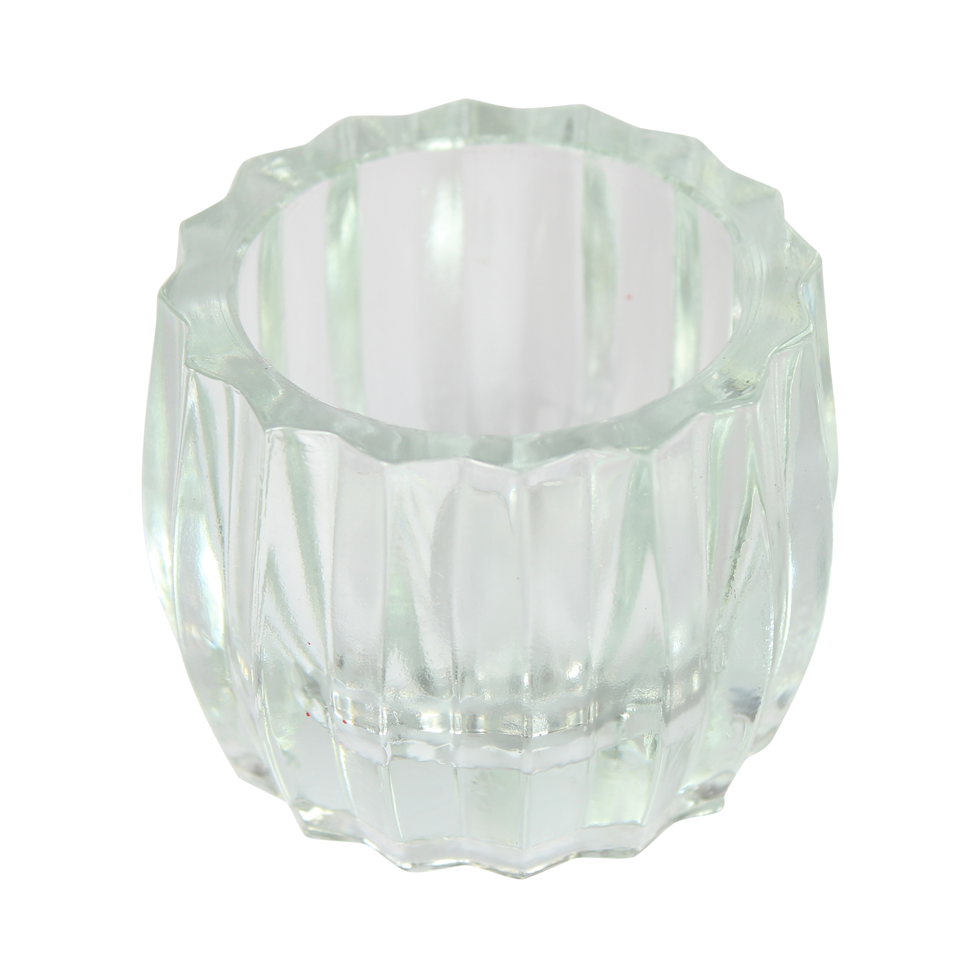 Clear Ribbed Glass T-Light Holders