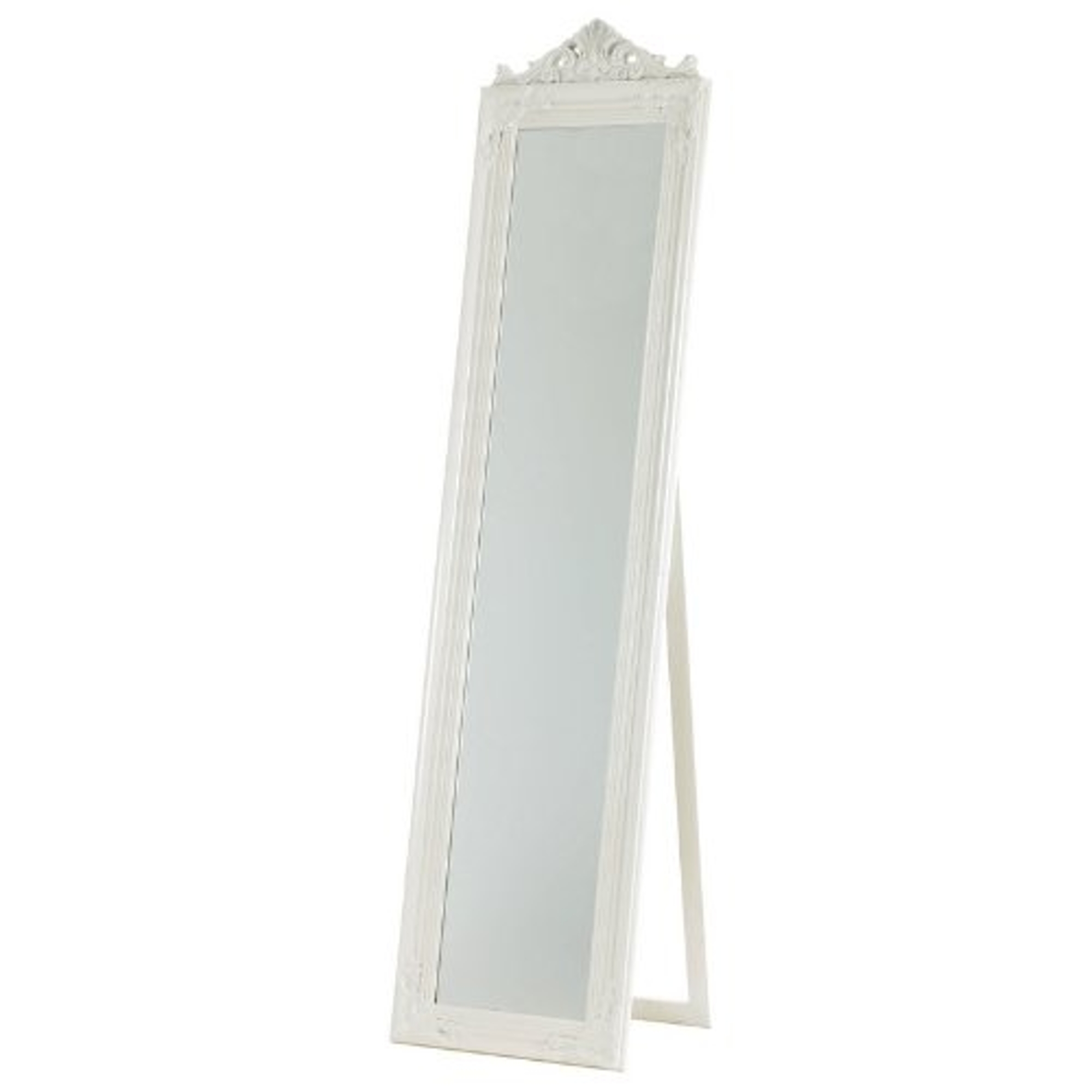 Free standing french style dressing cheval mirror in white for White long standing mirror