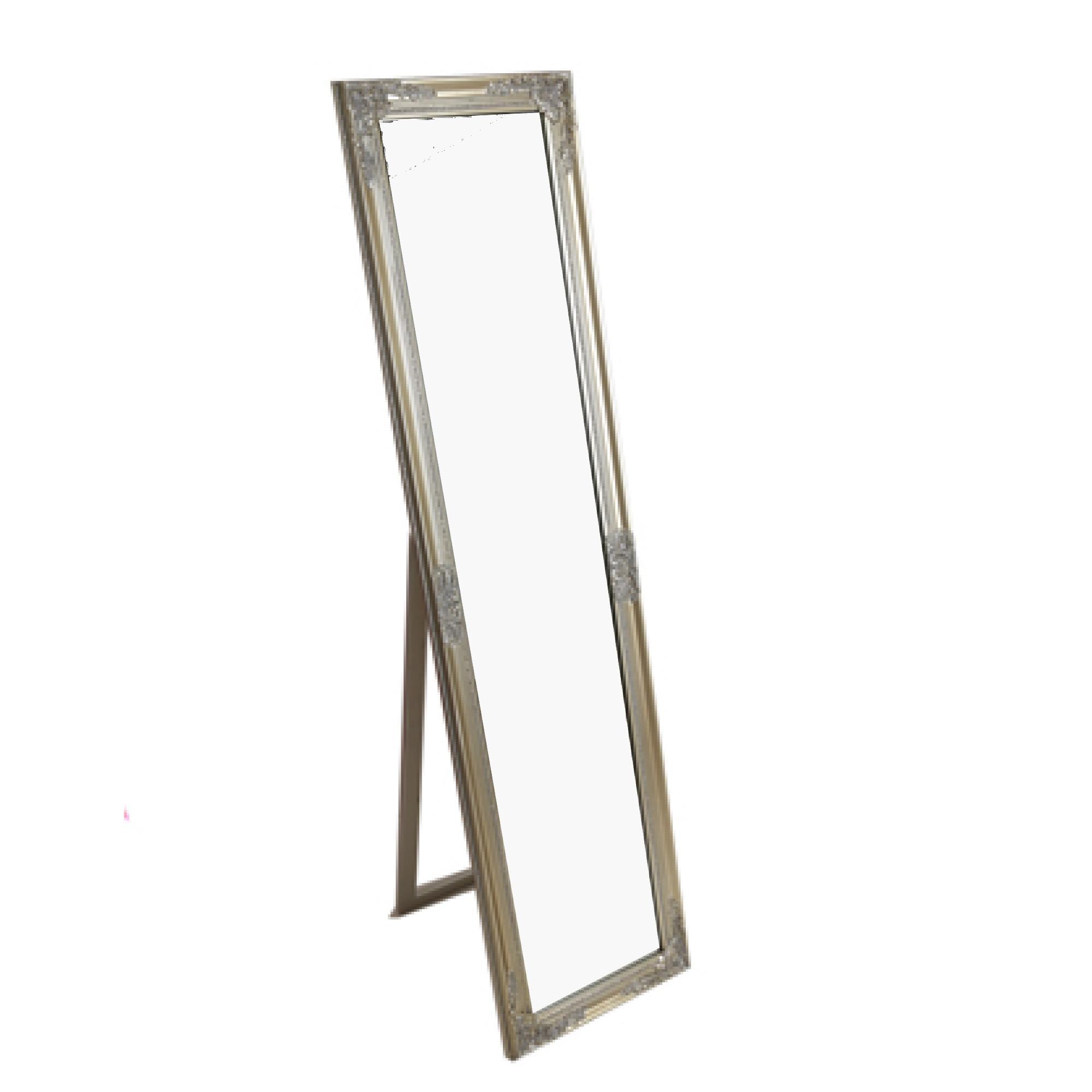silver floor mirror. Slim Floor Standing Cheval Mirror Antique Style, Silver