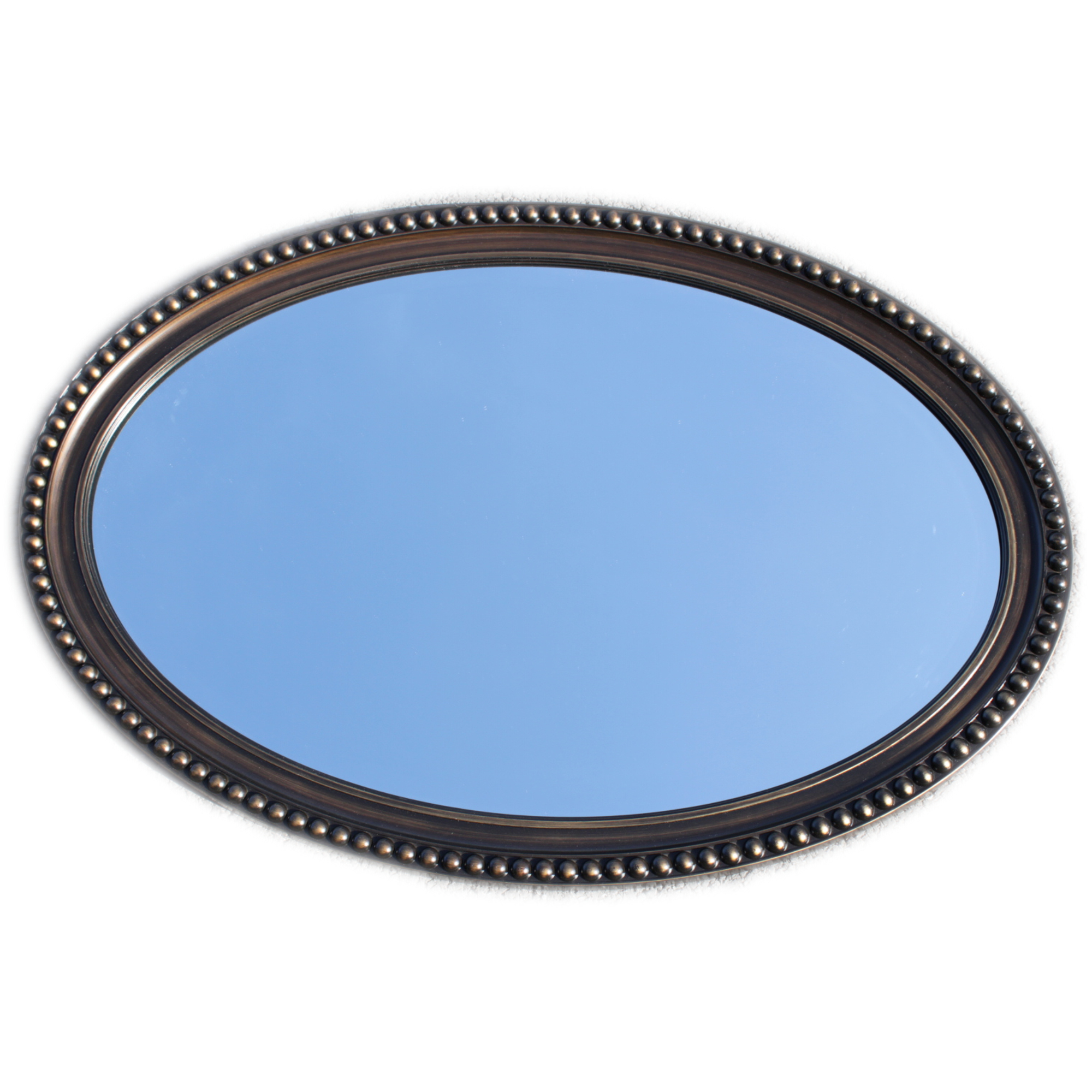 Classic oval shaped hallway mirror black champagne for Classic mirror