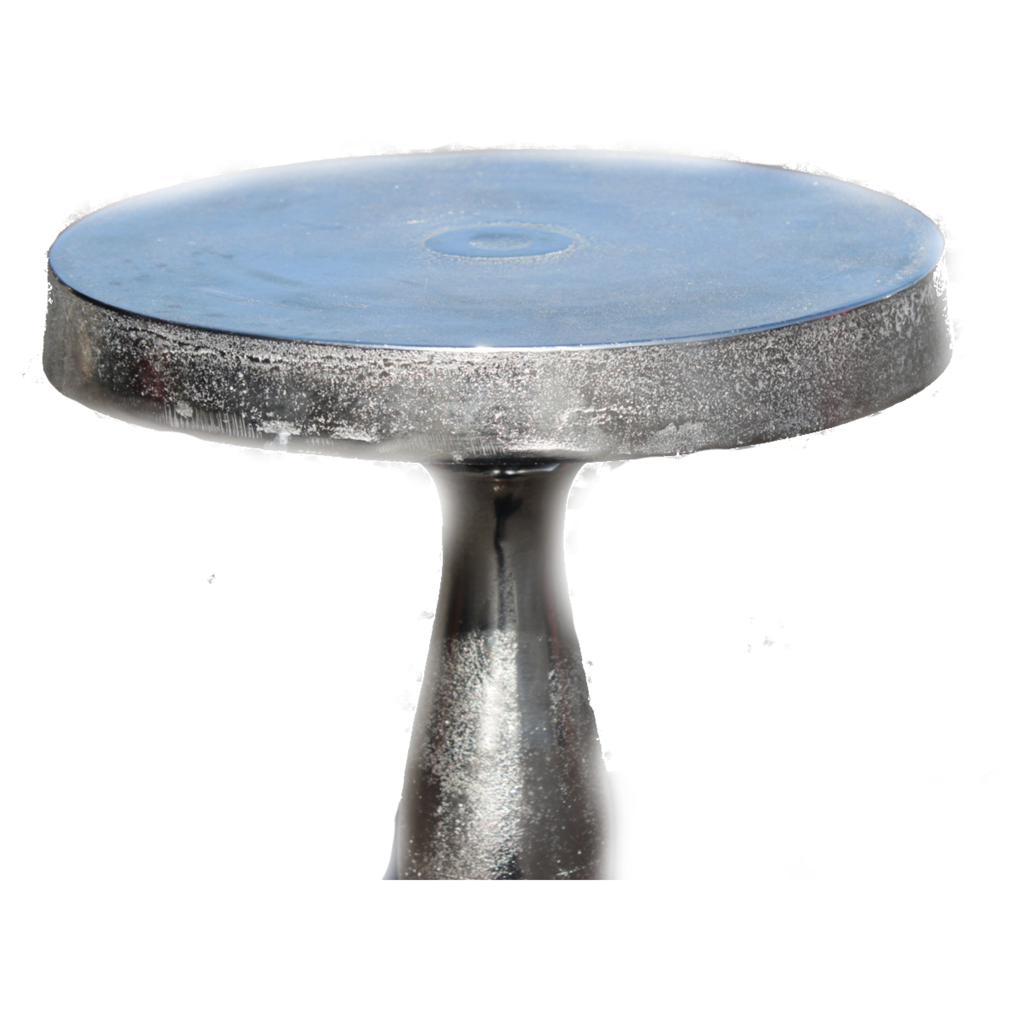 Aluminium Rough Cast Round Pedestal Side Table 45cm Tall