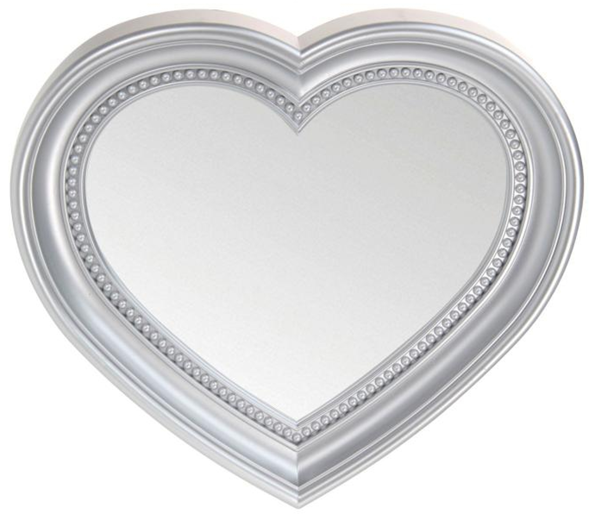 Heart Shaped Wall Hanging Mirror Silver 35cm