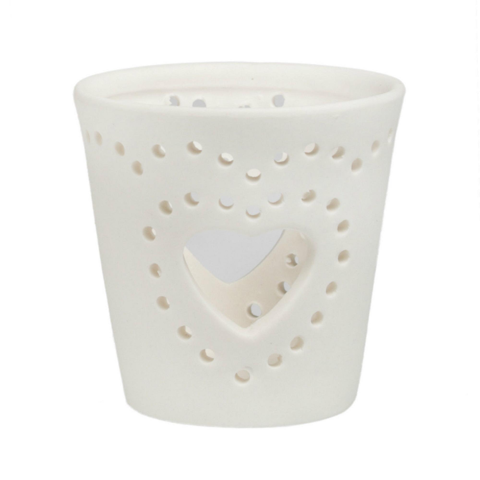 Big Heart White Ceramic Tea Light Holder Blendboutique