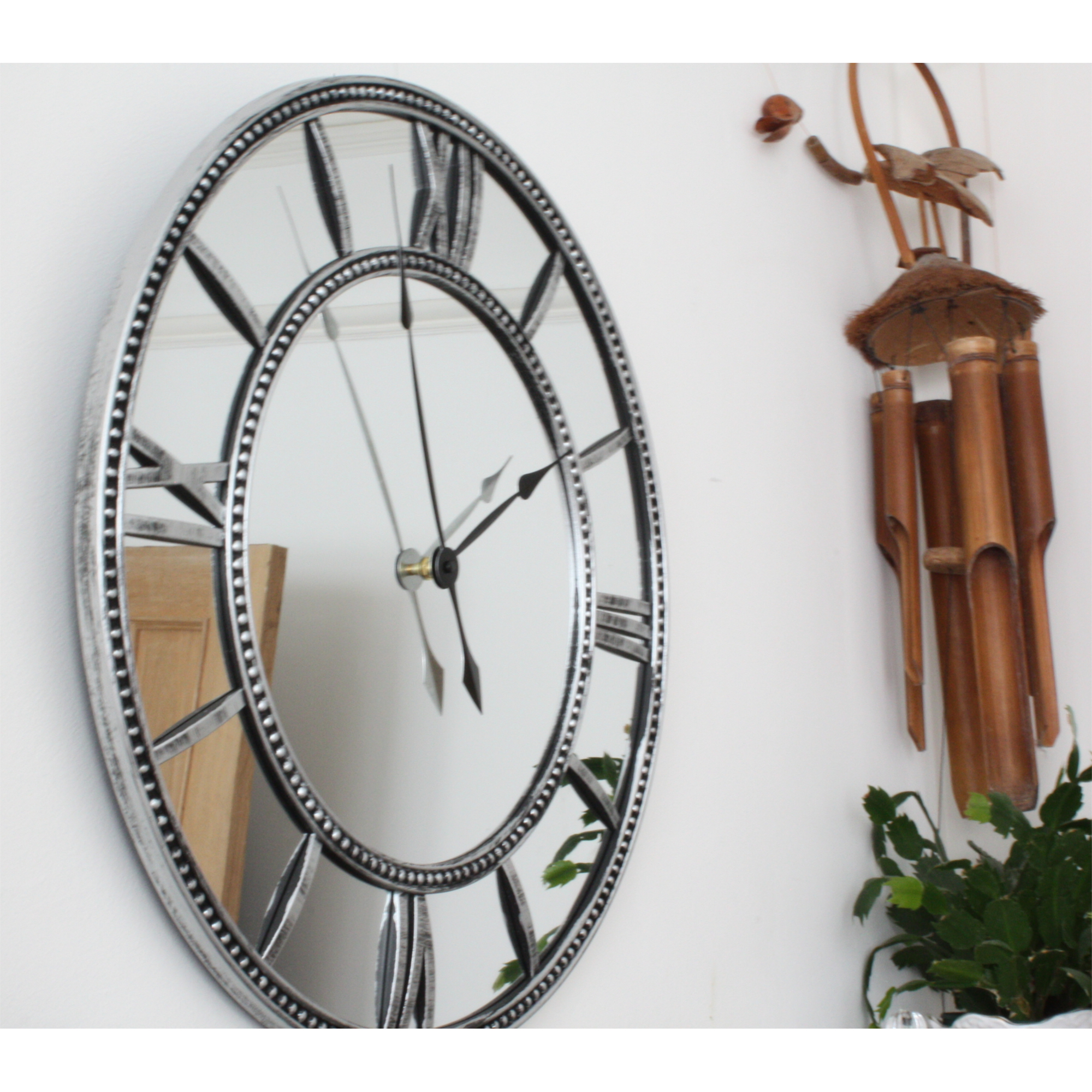 Roman Numeral Mirrored Glass Clock Blendboutique