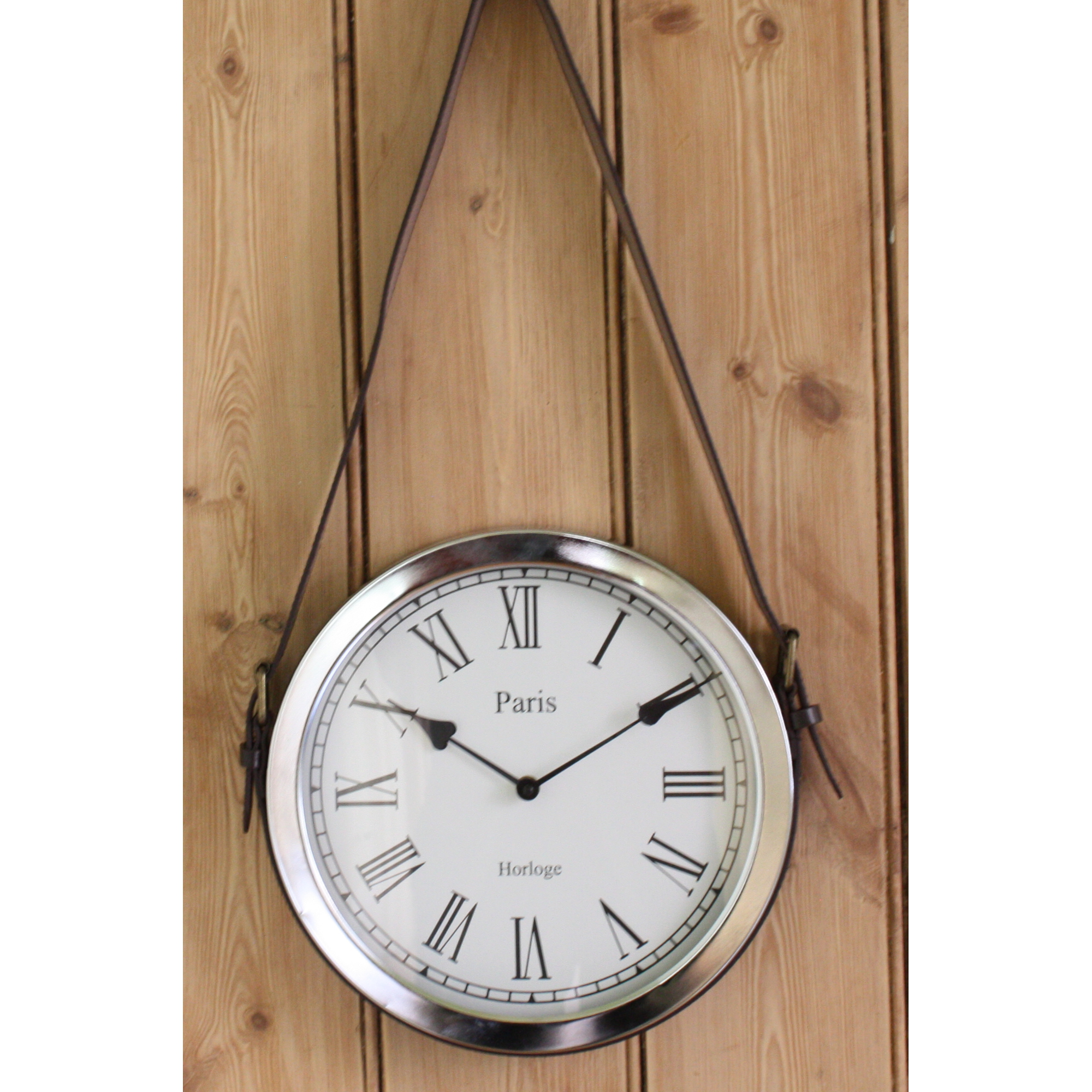 Hanging a wall clock gallery home wall decoration ideas leather wall clock 12000 wall clocks metal chrome hanging leather belt wall clock amipublicfo gallery amipublicfo Gallery