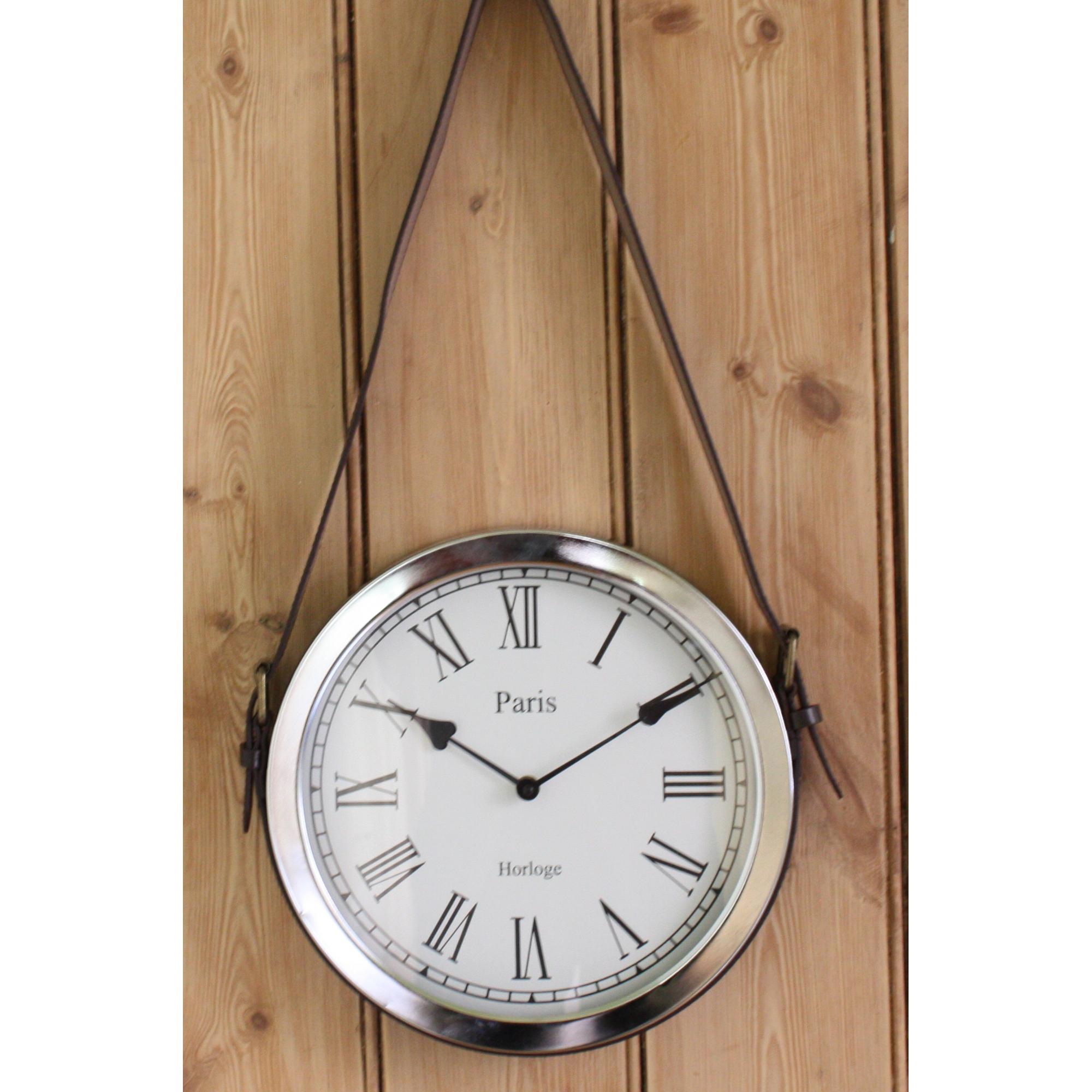 Metal Chrome Hanging Leather Belt Wall Clock Blendboutique