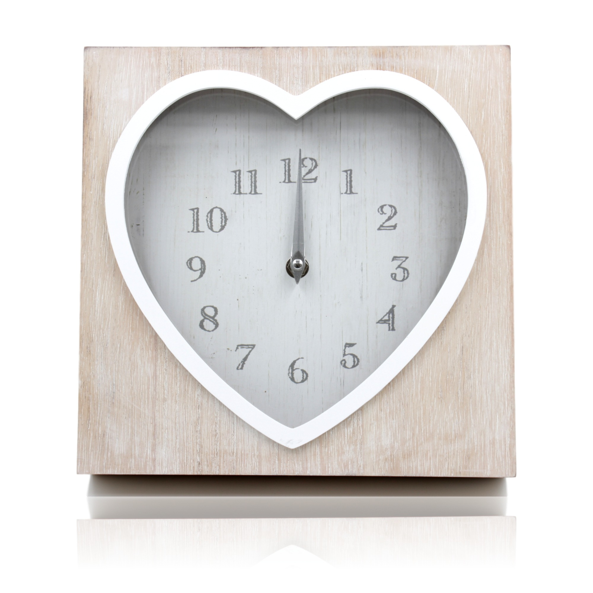 Lime Washed Wood Heart Shaped Wall Or Mantle Clock