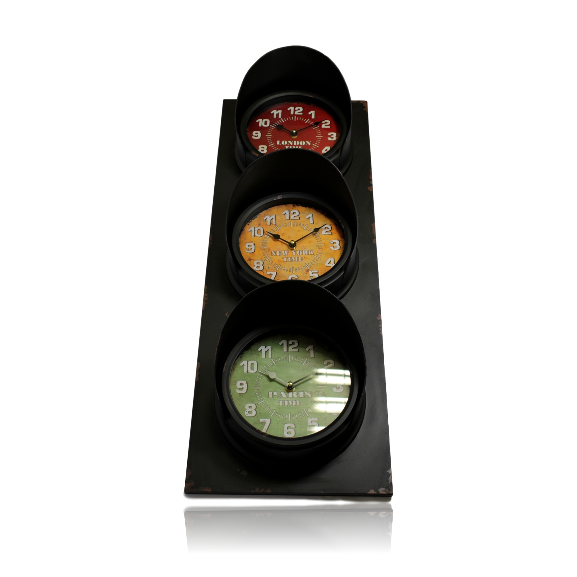 London Paris New York Traffic Light Design Wall Clock