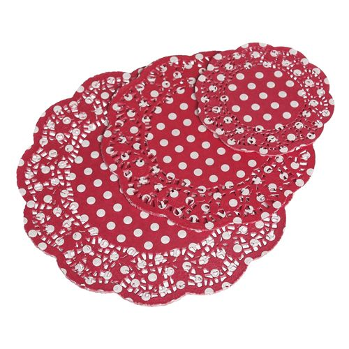 72 Red Paper Polka Dot Doilies