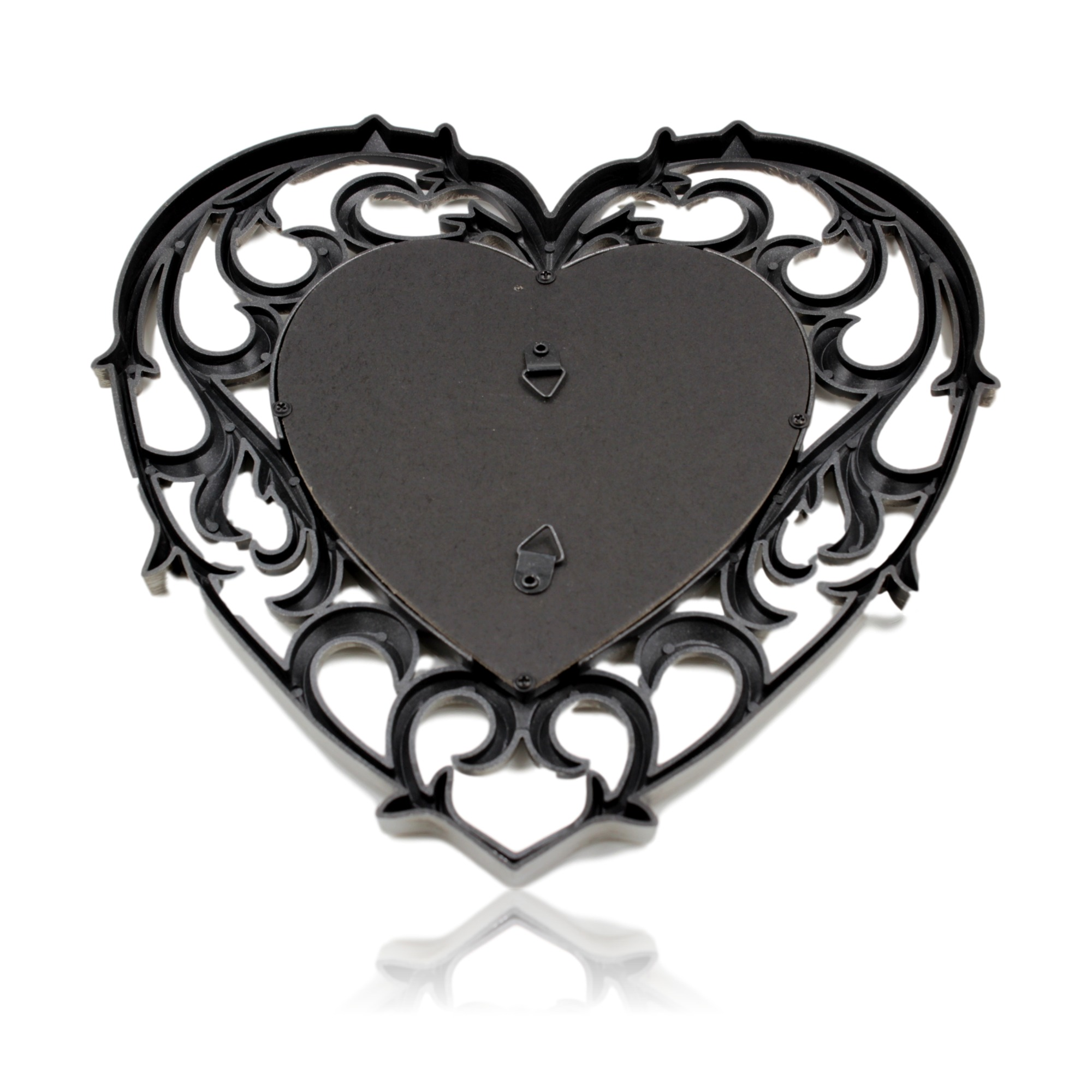 1x Small Heart Shaped Mirror Plastic Antique Silver Frame 25cm X 25cm Blendboutique