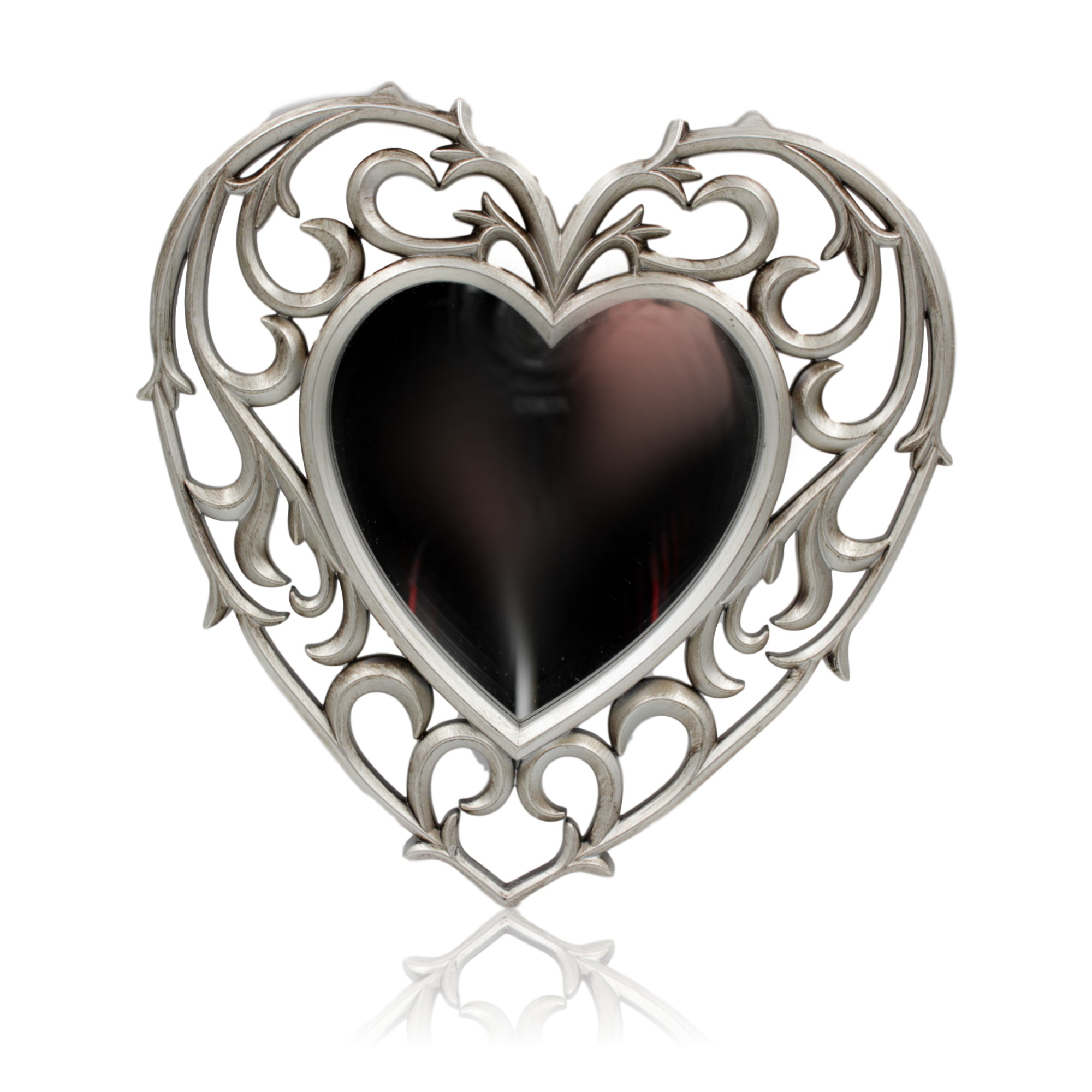 1x Small Heart Shaped Mirror Plastic Antique Silver Frame 25cm x ...